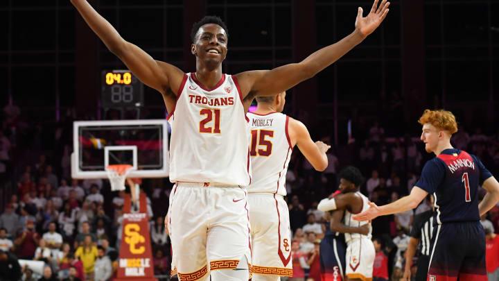 LOS ANGELES, CA – FEBRUARY 27: Onyeka Okongwu #21 of the USC Trojans celebrates after defeating the Arizona Wildcats. Okongwu is an elite PF/C prospect in the 2020 NBA Draft. (Photo by Jayne Kamin-Oncea/Getty Images)