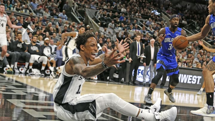 SAN ANTONIO, TX – FEBRUARY 29: DeMar DeRozan #10 of the San Antonio Spurs reacts after not having a foul called on his drive to the basket against the Orlando Magic (Photo by Ronald Cortes/Getty Images)