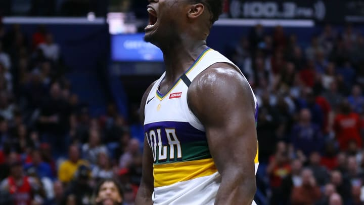 NEW ORLEANS, LOUISIANA – FEBRUARY 04: Zion Williamson #1 of the New Orleans Pelicans reacts against the Milwaukee Bucks during a game at the Smoothie King Center (Photo by Jonathan Bachman/Getty Images)