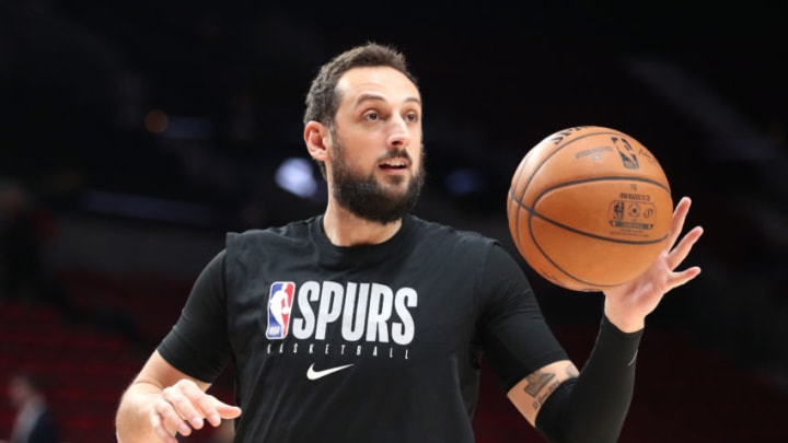 PORTLAND, OREGON - FEBRUARY 06: Marco Belinelli #18 of the San Antonio Spurs warms up prior to taking on the Portland Trail Blazers at Moda Center on February 06, 2020 in Portland, Oregon. NOTE TO USER: User expressly acknowledges and agrees that, by downloading and or using this photograph, User is consenting to the terms and conditions of the Getty Images License Agreement. (Photo by Abbie Parr/Getty Images)