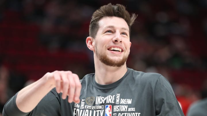 PORTLAND, OREGON – FEBRUARY 06: Drew Eubanks #14 of the San Antonio Spurs reacts prior to taking on the Portland Trail Blazers at Moda Center. (Photo by Abbie Parr/Getty Images)