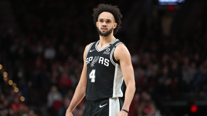 PORTLAND, OREGON – FEBRUARY 06: Derrick White #4 of the San Antonio Spurs reacts in the second quarter against the Portland Trail Blazers during a game at Moda Center (Photo by Abbie Parr/Getty Images)
