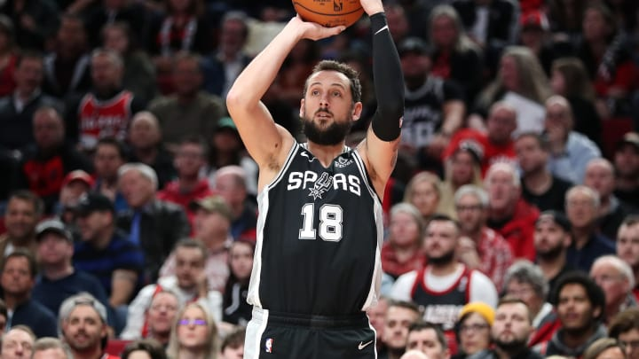 PORTLAND, OREGON – FEBRUARY 06: Marco Belinelli #18 of the San Antonio Spurs takes a shot against the Portland Trail Blazers in the second quarter during their game at Moda Center (Photo by Abbie Parr/Getty Images)