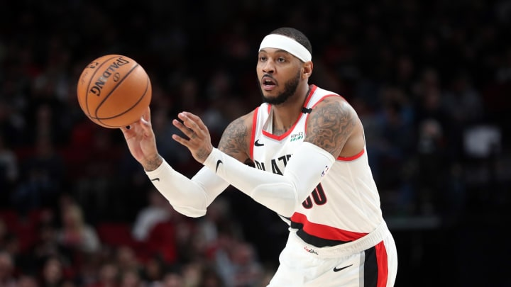 PORTLAND, OREGON – FEBRUARY 06: Carmelo Anthony #00 of the Portland Trail Blazers passes the ball in the third quarter against the San Antonio Spurs during their game at Moda Center. (Photo by Abbie Parr/Getty Images)