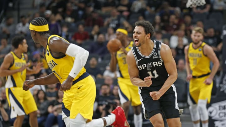 SAN ANTONIO, TX – MARCH 02: Bryn Forbes #11 of the San Antonio Spurs reacts after missing a three against the Indiana Pacers during second half action at AT&T Center on March 02, 2020 (Photo by Ronald Cortes/Getty Images)