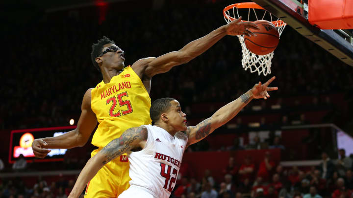 PISCATAWAY, NJ – MARCH 03: NBA Draft prospect Jalen Smith #25 of the Maryland Terrapins blocks a shot by Jacob Young #42 of the Rutgers Scarlet Knights at Rutgers Athletic Center. (Photo by Rich Schultz/Getty Images)