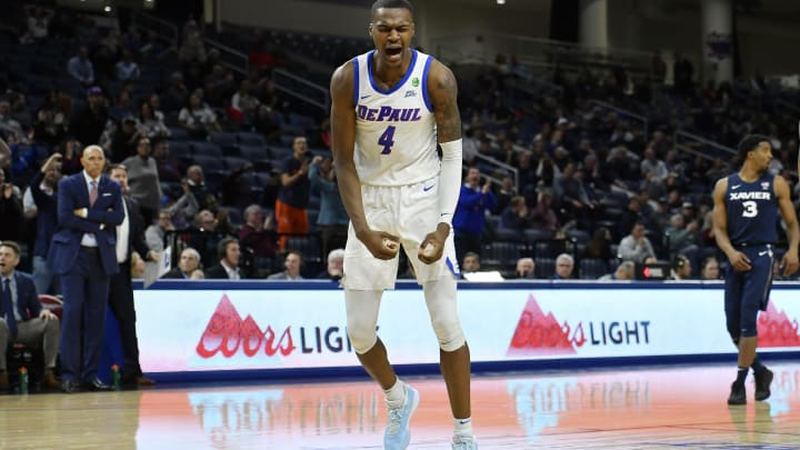 CHICAGO, ILLINOIS – FEBRUARY 04: Paul Reed #4 of the DePaul Blue Demons reacts after scoring in the second half against the Xavier Musketeers at Wintrust Arena on February 04, 2020 in Chicago, Illinois. (Photo by Quinn Harris/Getty Images)