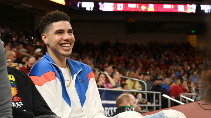 LOS ANGELES, CA – MARCH 07: Professional basketball player LaMelo Ball, right, attends the game between the USC Trojans and the UCLA Bruins at Galen Center on March 7, 2020 in Los Angeles, California. (Photo by Jayne Kamin-Oncea/Getty Images)