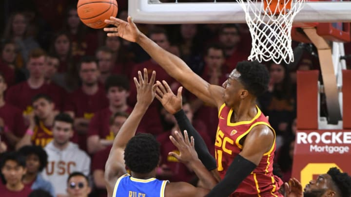 LOS ANGELES, CA - MARCH 07: Onyeka Okongwu #21 of the USC Trojans blocks a shot by Cody Riley #2 of the UCLA Bruins. The projected lottery pick would be a great fit for the San Antonio Spurs. (Photo by Jayne Kamin-Oncea/Getty Images)