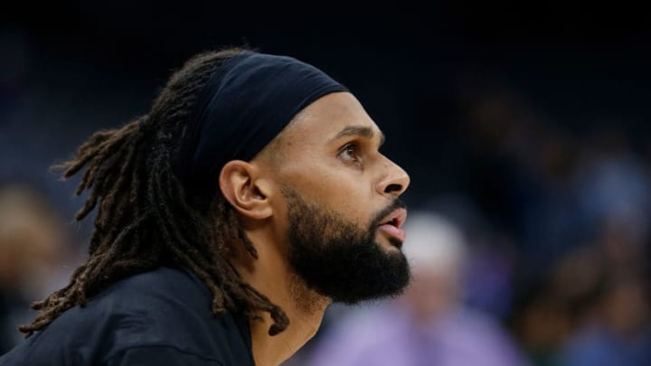 SACRAMENTO, CALIFORNIA - FEBRUARY 08: Patty Mills #8 of the San Antonio Spurs warms up before the game against the Sacramento Kings at Golden 1 Center on February 08, 2020 in Sacramento, California. NOTE TO USER: User expressly acknowledges and agrees that, by downloading and/or using this photograph, user is consenting to the terms and conditions of the Getty Images License Agreement. (Photo by Lachlan Cunningham/Getty Images)