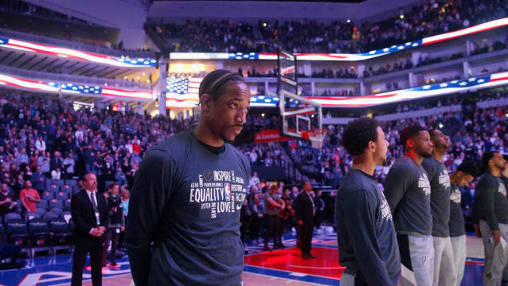 SACRAMENTO, CALIFORNIA - FEBRUARY 08: DeMar DeRozan #10 of the San Antonio Spurs stands for the national anthem before the game against the Sacramento Kings at Golden 1 Center on February 08, 2020 in Sacramento, California. NOTE TO USER: User expressly acknowledges and agrees that, by downloading and/or using this photograph, user is consenting to the terms and conditions of the Getty Images License Agreement. (Photo by Lachlan Cunningham/Getty Images)