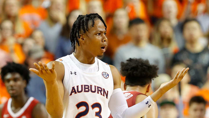 AUBURN, ALABAMA – FEBRUARY 12: Isaac Okoro #23 of the Auburn Tigers reacts in the first half against the Alabama Crimson Tide at Auburn Arena on February 12, 2020 in Auburn, Alabama. (Photo by Kevin C. Cox/Getty Images)