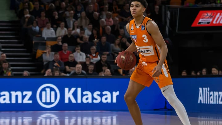 ULM, GERMANY – MARCH 08: (BILD ZEITUNG OUT) Killian Hayes of Ratiopharm Ulm controls the Ball during the EasyCredit Basketball Bundesliga (BBL) match between Ratiopharm Ulm and MHP Riesen Ludwigsburg at Ratiopharm Arena on March 8, 2020, in Ulm, Germany. (Photo by Harry Langer/DeFodi Images via Getty Images)