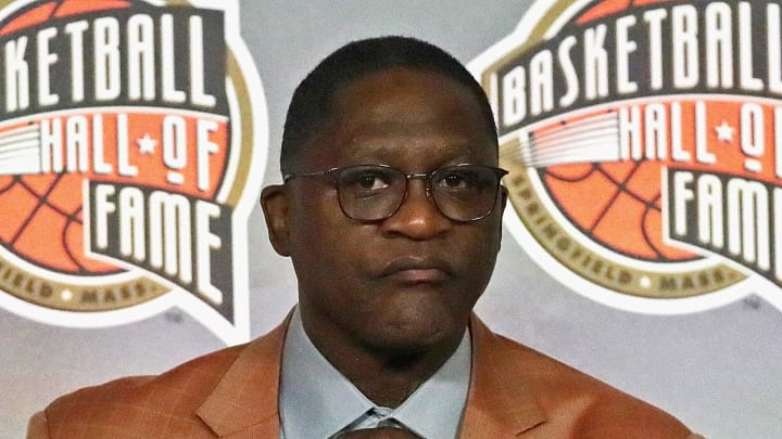 CHICAGO, ILLINOIS – FEBRUARY 14: Dominique Wilkins listens during a ceremony announcing the 2020 Naismith Memorial Basketball Hall of Fame finalists. (Photo by Jonathan Daniel/Getty Images)