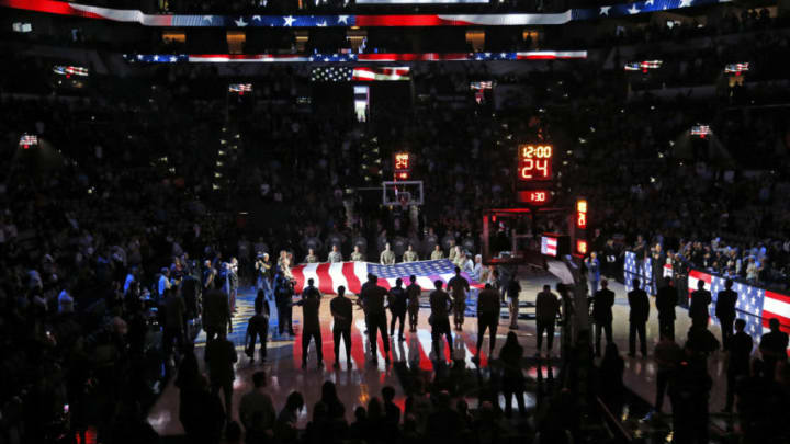 SAN ANTONIO, TX - MARCH 10: Armed Forces day was celebrated before the start of the San Antonio Spurs and Dallas Mavericks game at AT&T Center on March 10, 2020 in San Antonio, Texas. NOTE TO USER: User expressly acknowledges and agrees that , by downloading and or using this photograph, User is consenting to the terms and conditions of the Getty Images License Agreement. (Photo by Ronald Cortes/Getty Images)
