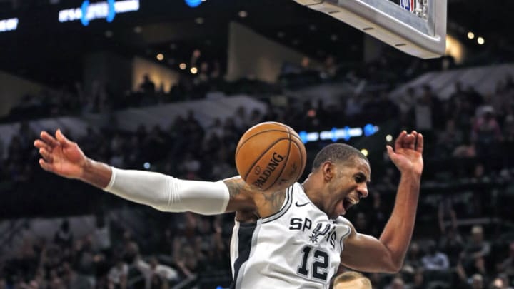 SAN ANTONIO, TX - MARCH 10: LaMarcus Aldridge #12 of the San Antonio Spurs dunks in the fourth quarter at AT&T Center on March 10, 2020 in San Antonio, Texas. San Antonio Spurs defeated the Dallas Mavericks 119-109. NOTE TO USER: User expressly acknowledges and agrees that , by downloading and or using this photograph, User is consenting to the terms and conditions of the Getty Images License Agreement. (Photo by Ronald Cortes/Getty Images)