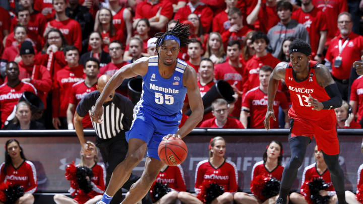 CINCINNATI, OH – FEBRUARY 13: NBA Draft prospect Precious Achiuwa #55 of the Memphis Tigers dribbles the ball up court against the Cincinnati Bearcats during a game at Fifth Third Arena. (Photo by Joe Robbins/Getty Images)