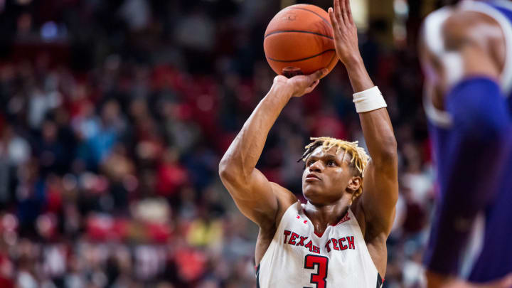 LUBBOCK, TEXAS – FEBRUARY 19: NBA Draft prospect Jahmi'us Ramsey #3 of the Texas Tech Red Raiders shoots a free throw against the Kansas State Wildcats. (Photo by John E. Moore III/Getty Images)