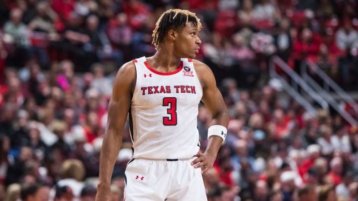 LUBBOCK, TEXAS – FEBRUARY 19: NBA Draft prospect Jahmi'us Ramsey #3 of the Texas Tech Red Raiders looks across the court against the Kansas State Wildcats at United Supermarkets Arena. (Photo by John E. Moore III/Getty Images)