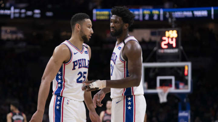 PHILADELPHIA, PA - FEBRUARY 09: Ben Simmons #25 of the Philadelphia 76ers talks to Joel Embiid #21 against the Chicago Bulls at the Wells Fargo Center on February 9, 2020 in Philadelphia, Pennsylvania. The 76ers defeated the Bulls 118-111. NOTE TO USER: User expressly acknowledges and agrees that, by downloading and/or using this photograph, user is consenting to the terms and conditions of the Getty Images License Agreement. (Photo by Mitchell Leff/Getty Images)
