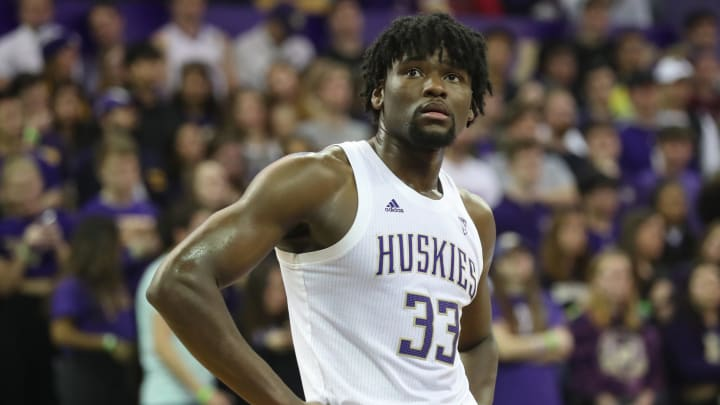 SEATTLE, WASHINGTON – FEBRUARY 20: Isaiah Stewart #33 of the Washington Huskies reacts in the first half against the Stanford Cardinal during their game at Hec Edmundson Pavilion on February 20, 2020 in Seattle, Washington. (Photo by Abbie Parr/Getty Images)