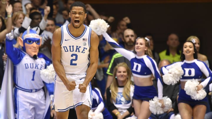 DURHAM, NORTH CAROLINA – FEBRUARY 22: NBA Draft prospect Cassius Stanley #2 of the Duke Blue Devils reacts during the first half against the Hokies at Cameron Indoor Stadium. (Photo by Grant Halverson/Getty Images)