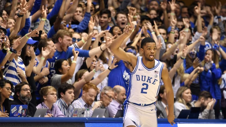 DURHAM, NORTH CAROLINA – FEBRUARY 22: Cassius Stanley #2 of the Duke Blue Devils reacts after making a three-point basket against the Virginia Tech Hokies during the first half of their game at Cameron Indoor Stadium on February 22, 2020 in Durham, North Carolina. (Photo by Grant Halverson/Getty Images)