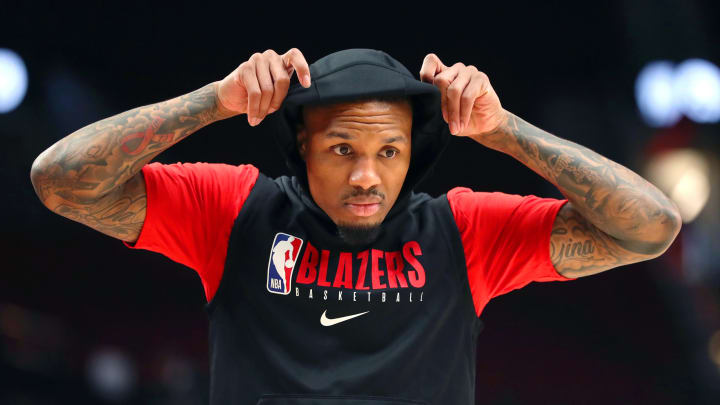 PORTLAND, OREGON – FEBRUARY 25: Damian Lillard #0 of the Portland Trail Blazers warms up prior to their game against the Boston Celtics at Moda Center (Photo by Abbie Parr/Getty Images)