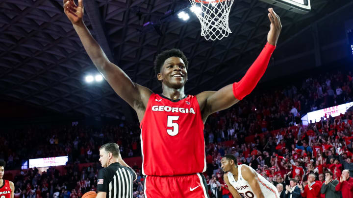 ATHENS, GA – FEBRUARY 19: Anthony Edwards #5 of the Georgia Bulldogs gestures to the crowd in the final minutes of a game against the Auburn Tigers at Stegeman Coliseum on February 19, 2020 in Athens, Georgia. (Photo by Carmen Mandato/Getty Images)