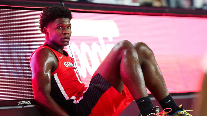 ATHENS, GA – FEBRUARY 19: Anthony Edwards #5 of the Georgia Bulldogs looks on during a game against the Auburn Tigers at Stegeman Coliseum on February 19, 2020 in Athens, Georgia. (Photo by Carmen Mandato/Getty Images)