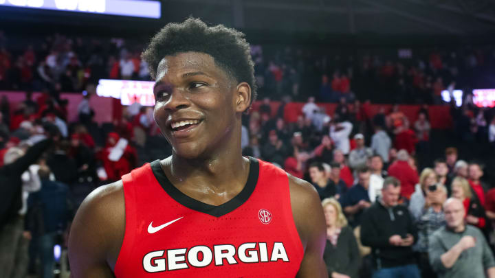 ATHENS, GA – FEBRUARY 19: NBA Draft prospect Anthony Edwards #5 of the Georgia Bulldogs looks on during a game against the Auburn Tigers at Stegeman Coliseum on February 19, 2020. (Photo by Carmen Mandato/Getty Images)