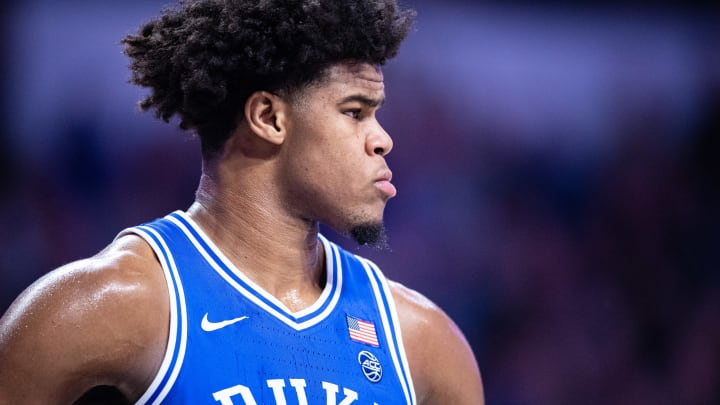 WINSTON-SALEM, NORTH CAROLINA – FEBRUARY 25: Vernon Carey Jr. #1 of the Duke Blue Devils during the first half during their game against the Wake Forest Demon Deacons at LJVM Coliseum Complex on February 25, 2020 in Winston-Salem, North Carolina. (Photo by Jacob Kupferman/Getty Images)