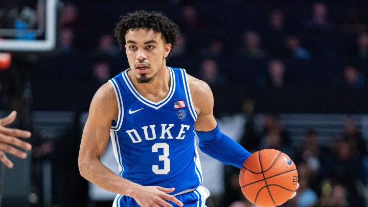 WINSTON-SALEM, NORTH CAROLINA – FEBRUARY 25: Tre Jones #3 of the Duke Blue Devils during the second half during their game against the Wake Forest Demon Deacons at LJVM Coliseum Complex on February 25, 2020 in Winston-Salem, North Carolina. (Photo by Jacob Kupferman/Getty Images)