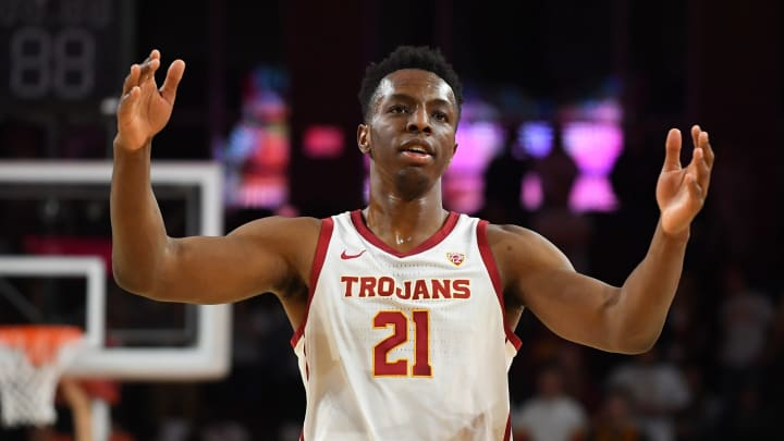 LOS ANGELES, CA – FEBRUARY 27: Onyeka Okongwu #21 of the USC Trojans acknowledges the crowd after defeating the Arizona Wildcats 57-48 at Galen Center on February 27, 2020 in Los Angeles, California. (Photo by Jayne Kamin-Oncea/Getty Images)