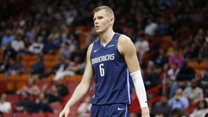 MIAMI, FLORIDA – FEBRUARY 28: Kristaps Porzingis #6 of the Dallas Mavericks looks on against the Miami Heat during the second half at American Airlines Arena on February 28, 2020 in Miami, Florida. (Photo by Michael Reaves/Getty Images)