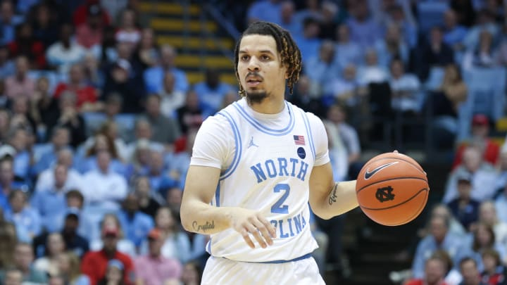 CHAPEL HILL, NC – FEBRUARY 25: Cole Anthony #2 of the University of North Carolina dribbles the ball during a game between NC State and North Carolina. (Photo by Andy Mead/ISI Photos/Getty Images)