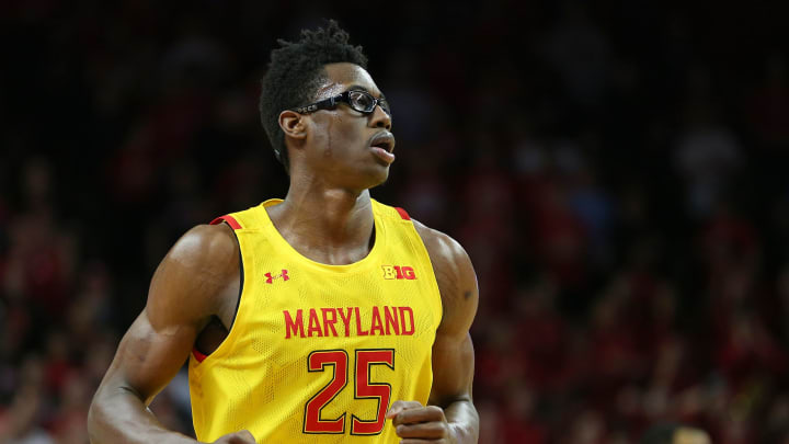 PISCATAWAY, NJ – MARCH 03: Jalen Smith #25 of the Maryland Terrapins in action against the Scarlet Knights at Rutgers Athletic Center. Smith is a frontcourt prospect in the 2020 NBA Draft. (Photo by Rich Schultz/Getty Images)