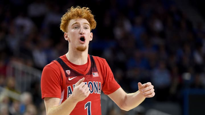 LOS ANGELES, CA – FEBRUARY 29: Nico Mannion #1 of the Arizona Wildcats instructs the offense against the UCLA Bruins. It's one of the skills that make him an NBA Draft prospect. (Photo by Jayne Kamin-Oncea/Getty Images)