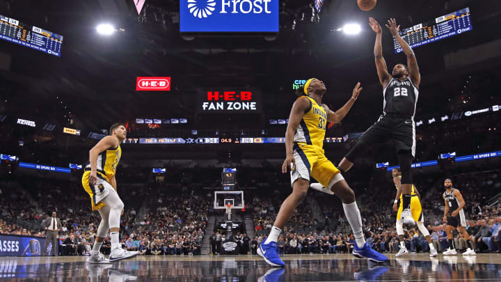 SAN ANTONIO, TX – MARCH 02: Rudy Gay #22 of the San Antonio Spurs shoots over Myles Turner #33 of the Indiana Pacers during the first half action at AT&T Center. (Photo by Ronald Cortes/Getty Images)