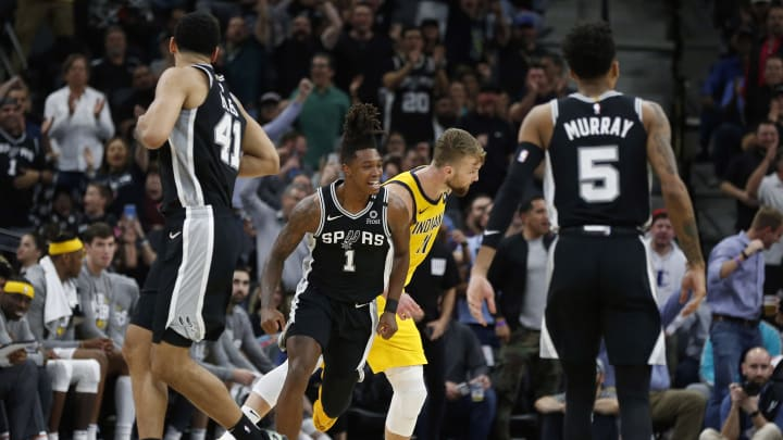 SAN ANTONIO, TX – MARCH 02: Lonnie Walker #1 of the San Antonio Spurs celebrates during the second half against the Indiana Pacers at AT&T Center. (Photo by Ronald Cortes/Getty Images)