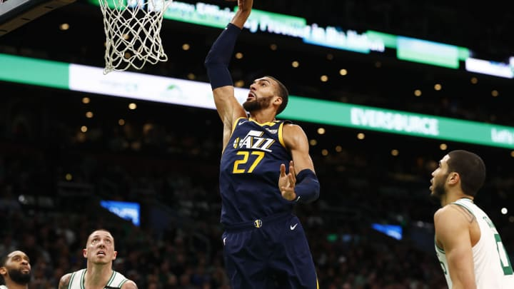 BOSTON, MASSACHUSETTS – MARCH 06: Rudy Gobert #27 of the Utah Jazz dunks during the third quarter against the Boston Celtics at TD Garden on March 06, 2020 (Photo by Omar Rawlings/Getty Images)