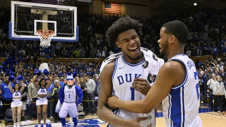 DURHAM, NORTH CAROLINA - MARCH 07: Vernon Carey Jr. #1 and Cassius Stanley #2 of the Duke Blue Devils celebrate after their win against the North Carolina Tar Heels and at Cameron Indoor Stadium on March 07, 2020 in Durham, North Carolina. Duke won 89-76. (Photo by Grant Halverson/Getty Images)