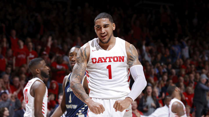 DAYTON, OH – MARCH 07: NBA Draft prospect Obi Toppin #1 of the Dayton Flyers reacts after a dunk in the second half of a game against the George Washington Colonials. (Photo by Joe Robbins/Getty Images)