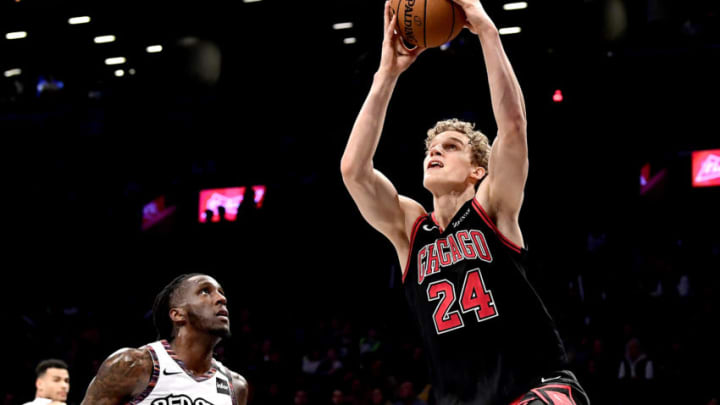 NEW YORK, NEW YORK - MARCH 08: Lauri Markkanen #24 of the Chicago Bulls scores a basket on a layup against the Brooklyn Nets in the second half at Barclays Center on March 08, 2020 in New York City. NOTE TO USER: User expressly acknowledges and agrees that, by downloading and or using this photograph, User is consenting to the terms and conditions of the Getty Images License Agreement. (Photo by Steven Ryan/Getty Images)