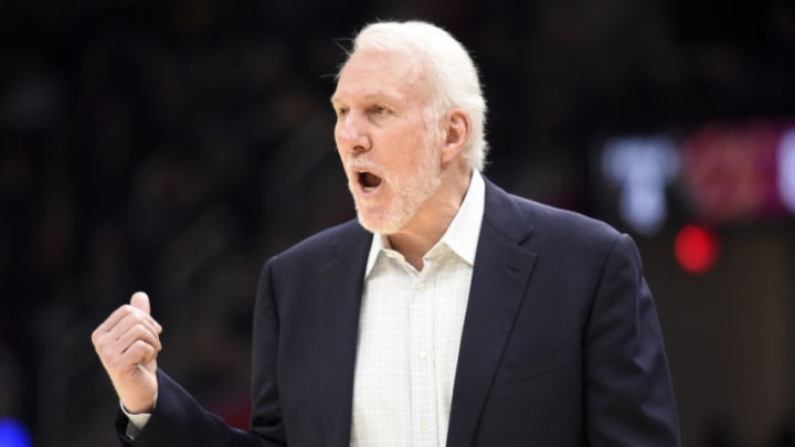 CLEVELAND, OHIO - MARCH 08: Head coach Gregg Popovich of the San Antonio Spurs yells to his players during the second half against the Cleveland Cavaliers at Rocket Mortgage Fieldhouse on March 08, 2020 in Cleveland, Ohio. The Cavaliers defeated the Spurs 132-129. NOTE TO USER: User expressly acknowledges and agrees that, by downloading and/or using this photograph, user is consenting to the terms and conditions of the Getty Images License Agreement. (Photo by Jason Miller/Getty Images)