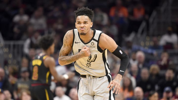CLEVELAND, OHIO – MARCH 08: Dejounte Murray #5 of the San Antonio Spurs celebrates after scoring during the second half against the Cleveland Cavaliers at Rocket Mortgage Fieldhouse (Photo by Jason Miller/Getty Images)