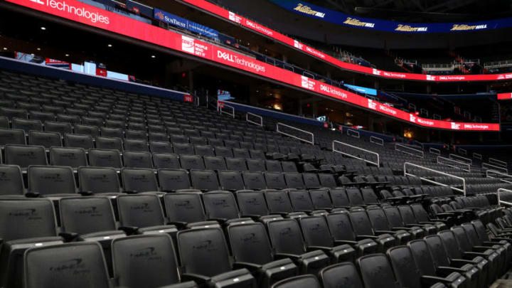 WASHINGTON, DC - MARCH 10: Seats are empty prior to the New York Knicks playing the Washington Wizards in an NBA game at Capital One Arena on March 10, 2020 in Washington, DC. NOTE TO USER: User expressly acknowledges and agrees that, by downloading and or using this photograph, User is consenting to the terms and conditions of the Getty Images License Agreement. (Photo by Patrick Smith/Getty Images)