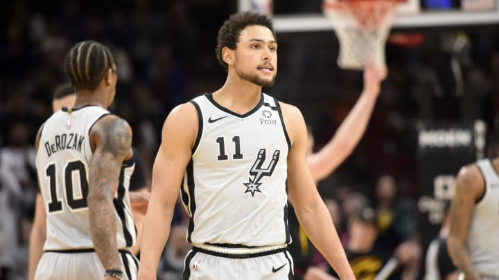 CLEVELAND, OHIO – MARCH 08: Bryn Forbes #11 of the San Antonio Spurs reacts during overtime against the Cleveland Cavaliers at Rocket Mortgage Fieldhouse on March 08, 2020 (Photo by Jason Miller/Getty Images)