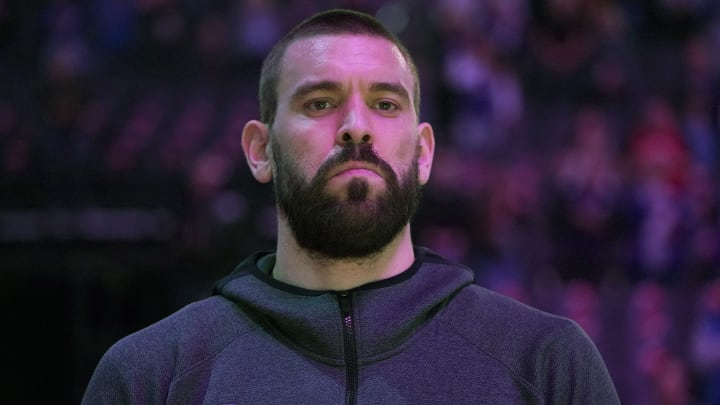 SACRAMENTO, CALIFORNIA – MARCH 08: Marc Gasol #33 of the Toronto Raptors stands for the National Anthem before a game against the Sacramento Kings at Golden 1 Center (Photo by Thearon W. Henderson/Getty Images)
