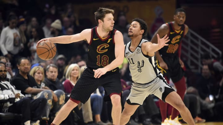 CLEVELAND, OHIO – MARCH 08: Matthew Dellavedova #18 of the Cleveland Cavaliers posts up against Bryn Forbes #11 of the San Antonio Spurs at Rocket Mortgage Fieldhouse (Photo by Jason Miller/Getty Images)
